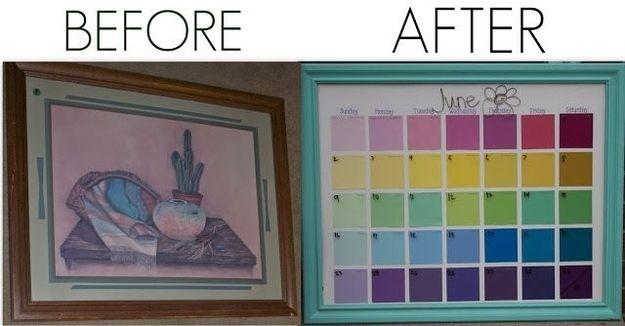 Use paint chips to create a pretty classroom calendar. | 35 Money-Saving DIYs For Teachers On A Budget