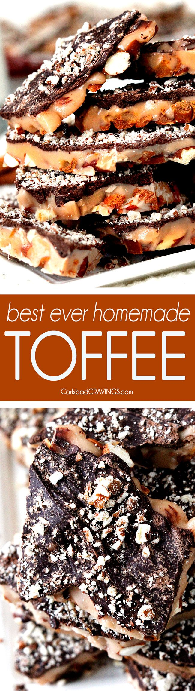 My mother-in-laws famous Homemade Toffee that everyone BEGS for the recipe! This will make a toffee addict out of you! This recipe is reliable, ADDICTING and the easiest and quickest dessert to whip up for gift giving and crowds!