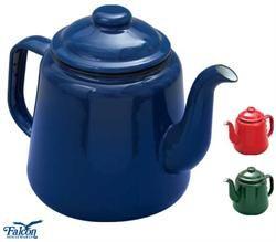 Vintage-style enamel teapots.