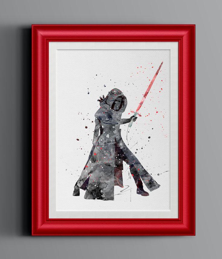 Kylo Ren Star Wars Watercolor Home Print   8 x 10   Wall Decor