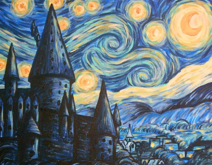 Hogwarts Starry Night  -   inspired by a similar image as seen online. acrylic paint