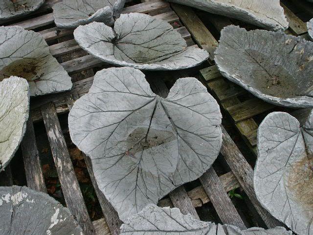 Concrete Leaves For Birdbaths Or Whatever!  Think I'll try using rhubarb leaves!