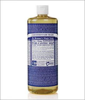 This is a must-have staple in our house!  Dr. Bronner's liquid soap can be used for everything from household cleaning to brushing your teeth.  It's organic, fair-trade, and just plain terrific!