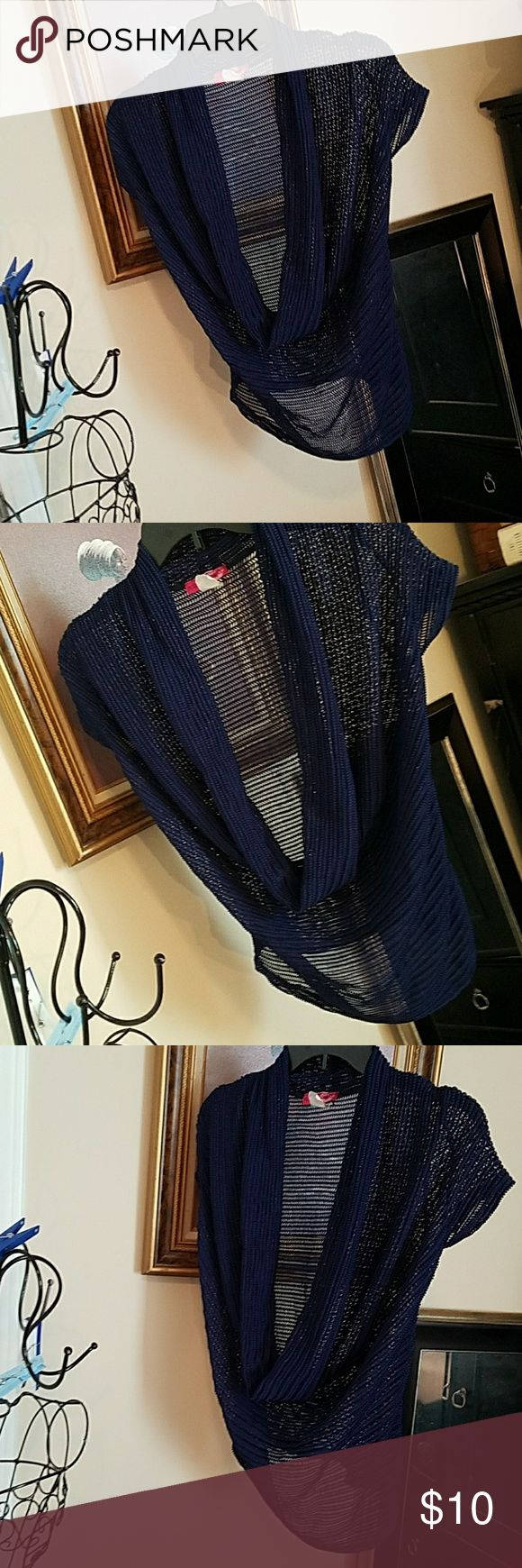 Body Central size Large sheer coverlet Navy Blue, sheer coverlet with draped cowl neck,  hi-lo design with knitted type design.  In excellent preloved condition.  100% polyester. Body Central size Large in Junior division. Body Central Tops