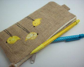 burlap pencil pouch with yellow birds, makeup bag, zipper pouch