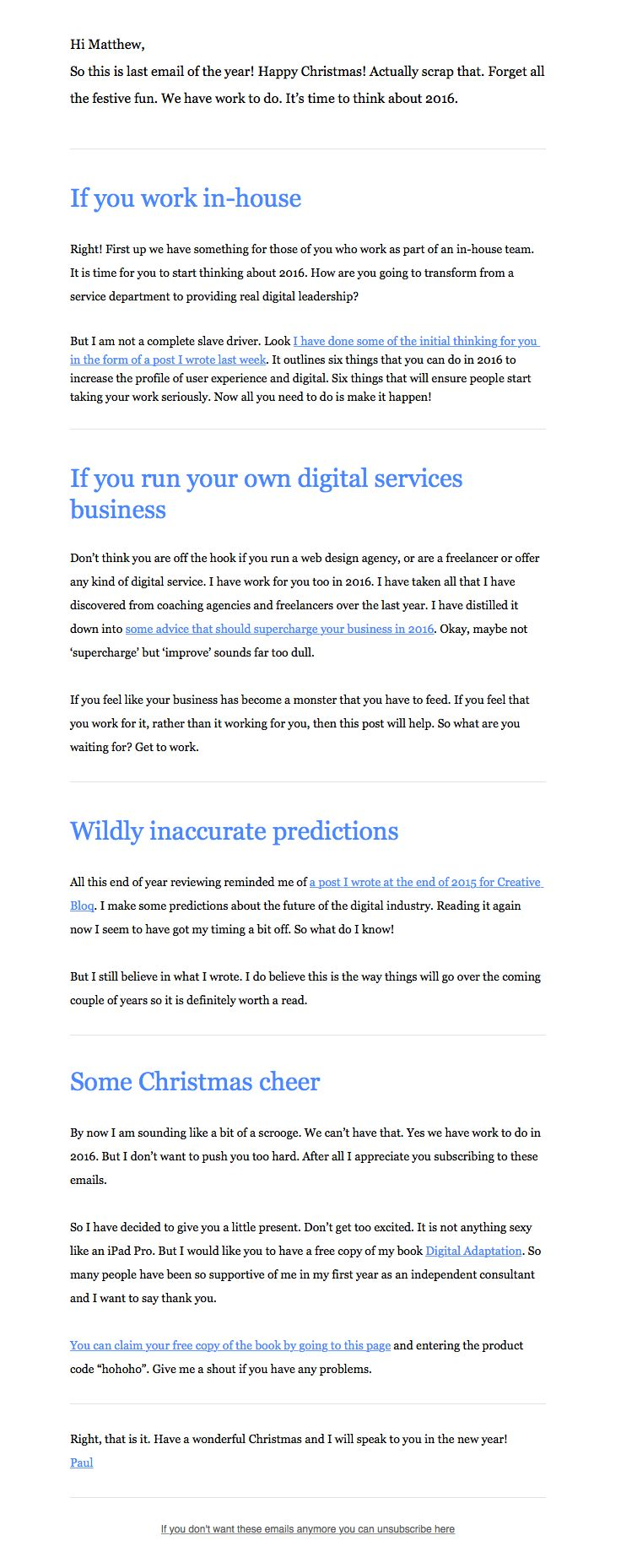 best onboarding emails images email design  boagworld sent this email the subject line forget christmas think about 2016