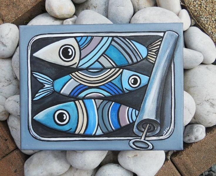 """Tableau  """" La boîte de Sardines"""" à l'acrylique..."""
