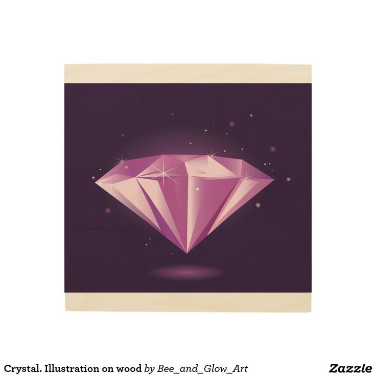 Crystal. Illustration on wood Wood Wall Art