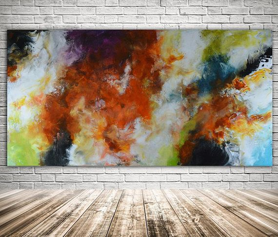 Blue Red Abstract Original Painting Canvas Art Navy Blue Orange Landscape Abstract Original Painting Mixed Media Art Modern Painting Painting Modern Painting Abstract Painting