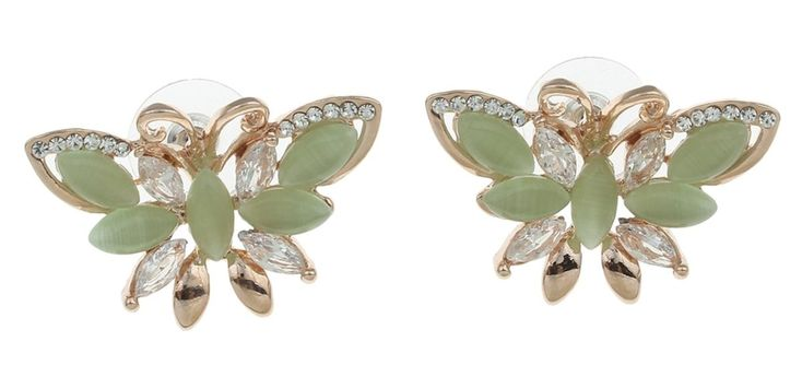 FashionCrab Golden Peacock Cat Eye Stone Butterfly Earring for girls