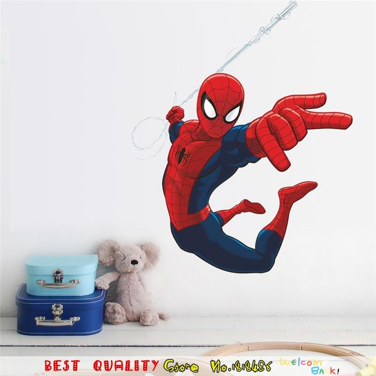 Waterproof Spiderman Wall Sticker Super Heros Wall Decals Removable Wallpaper Kids Room Decor Avengers Marvel Movie Poster