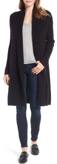 Women's Halogen Long Ribbed Cashmere Cardigan