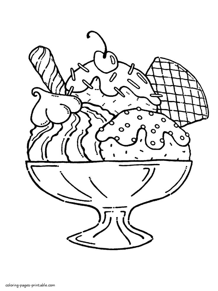 Giant ice cream sundae pages coloring pages for Ice cream sundae coloring page