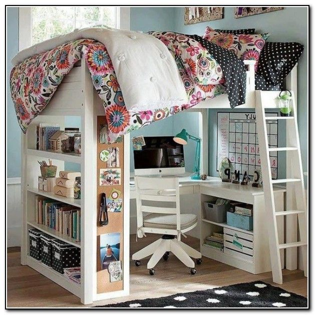 Kids loft beds with desk for the home pinterest - Loft and roomers ...
