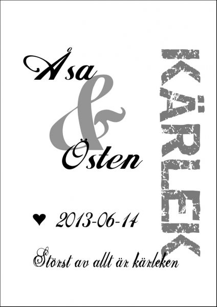 Kärlekstavlan - Poster med dina egna namn och ert datum. ~ HojnaDesign.se