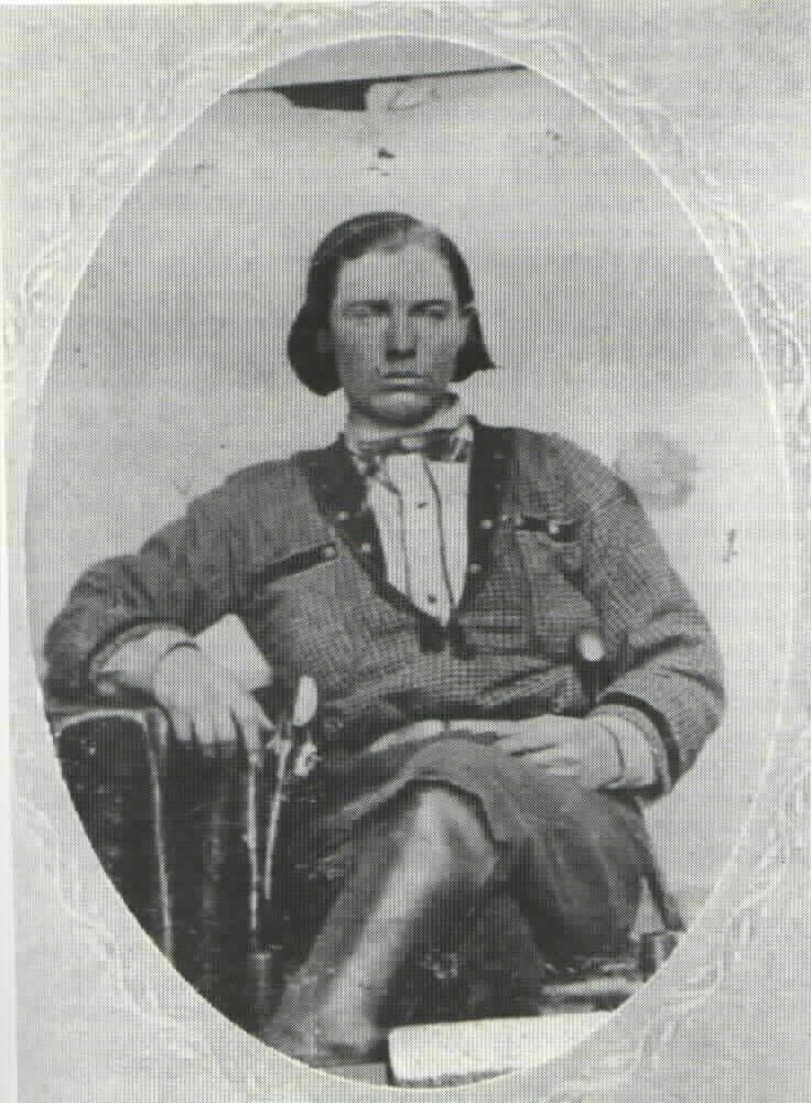 """Alexander Franklin """"Frank"""" James (January 10, 1843  – February 18, 1915) was a soldier, guerrilla and outlaw.  Older brother of outlaw Jesse James and  part of the James-Younger gang. Frank was born and died on the family farm in Kearney, Missouri. After the killing of his brother Jesse in 1882, Frank surrendered to  Governor Crittenden with the understanding he would not be extradited for the Northfield Raid. Tried and acquitted in Missouri he returned to the family farm."""