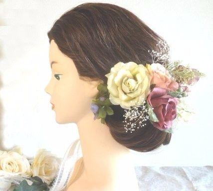 一点物・再販無・アンティークカラーのオトナのヘッドドレス~プリザーブドカスミソウ付き~B|ヘッドドレス(ウェディング)|Mon-zen|ハンドメイド通販・販売のCreema