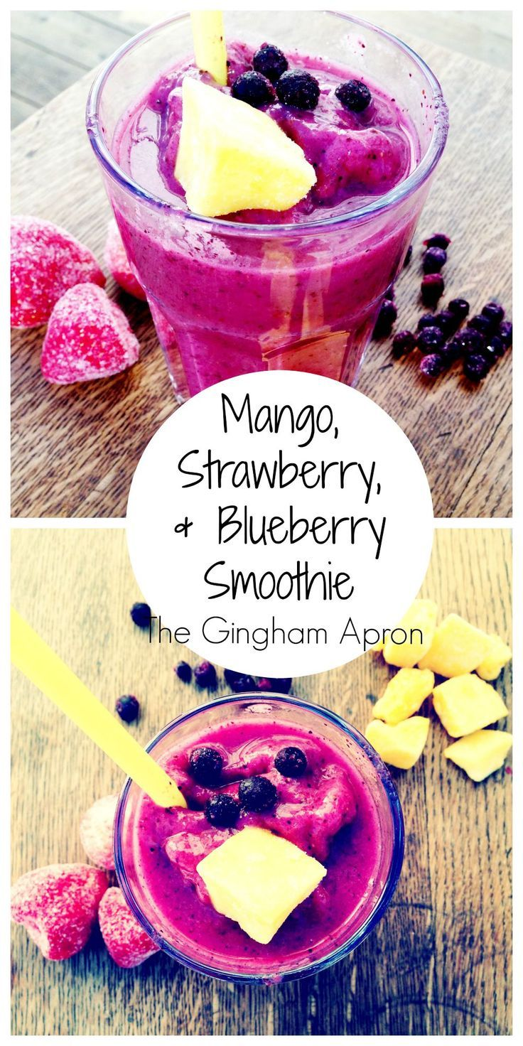 Mango, Strawberry, and Blueberry Smoothie: Sugar, dairy, and carb free. Refreshing and delicious.
