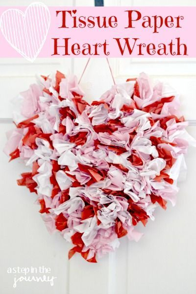 Quick, Easy, And Cheap Valentines Decor! DIY Tissue Paper Valentines Heart.