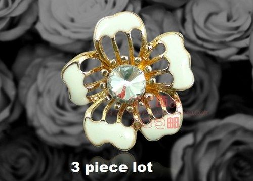 3 piece lot slotted flower alloy diy bling phone deco etc | chriszcoolstuff - Craft Supplies on ArtFire