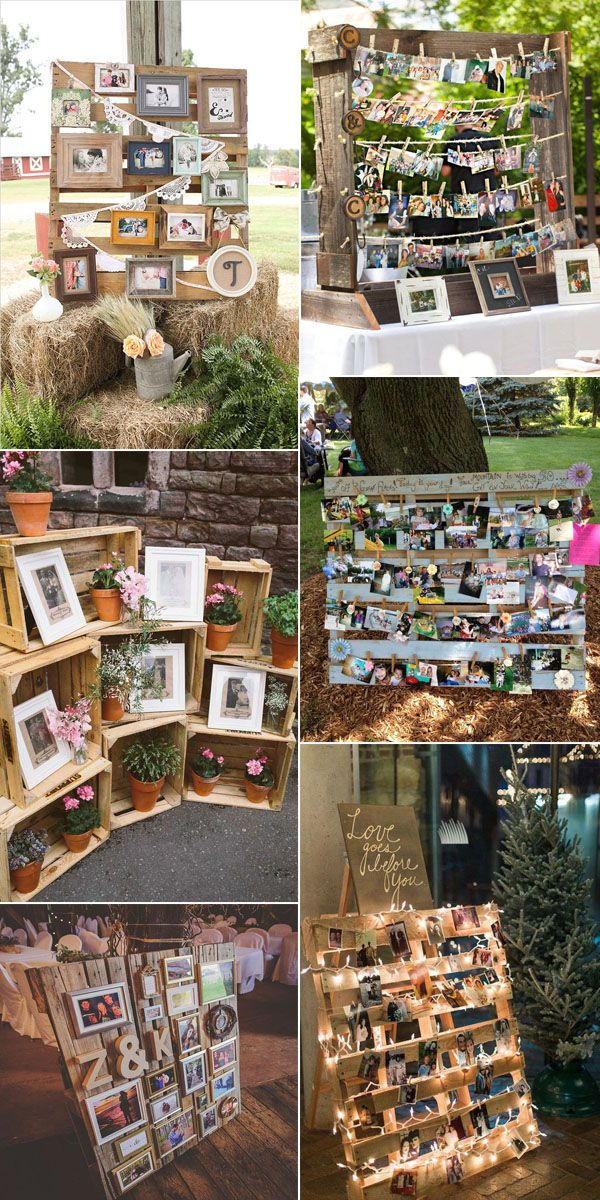 Rustic Wedding Photos and Wooden Pallets Inspired Display Ideas