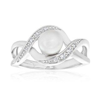 Sterling Silver Pearl and Cubic Zirconia Ring image-a