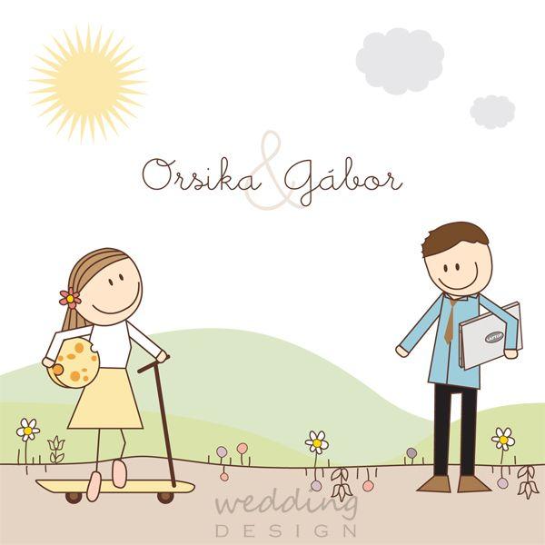 Wedding invitation card with our favorite cute couple - Kedvenc figuráink személyre szabva az esküvői meghívón