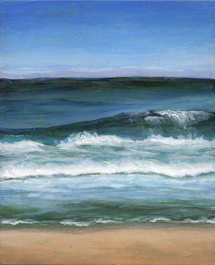 Small Acrylic Landscape Painting - Beach Themed Original Art - Seashore Ocean Waves. $95.00, via Etsy.