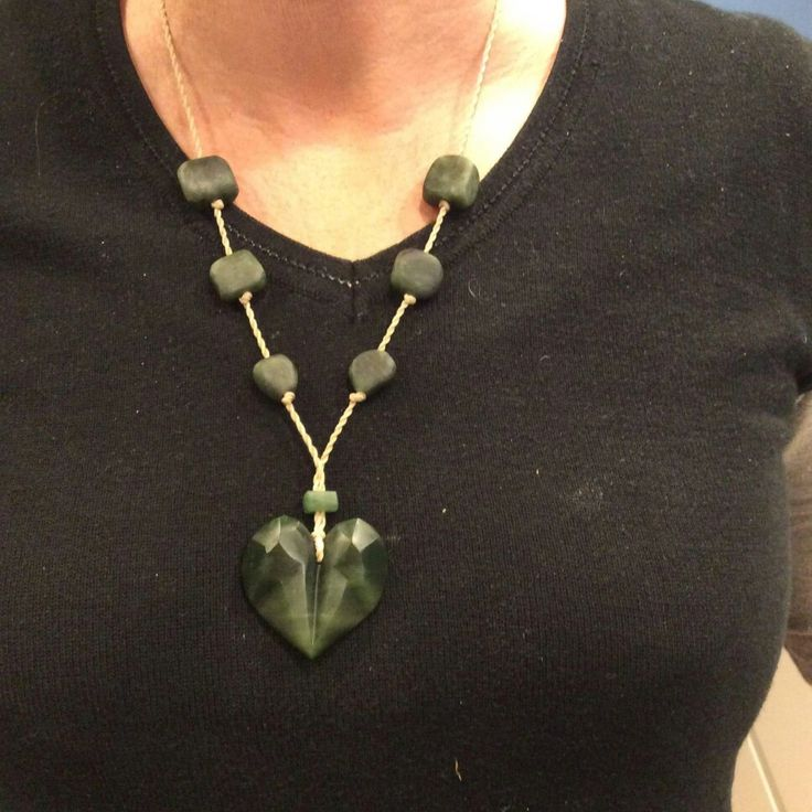 Faceted heart pendant. Pounamu/ NZ Jade.