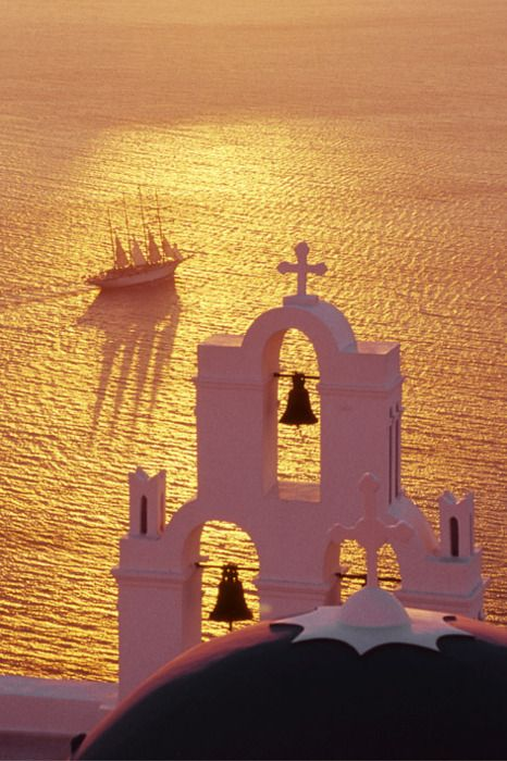 Church Bells and Ship in the Sunset - Santorini, Greece.