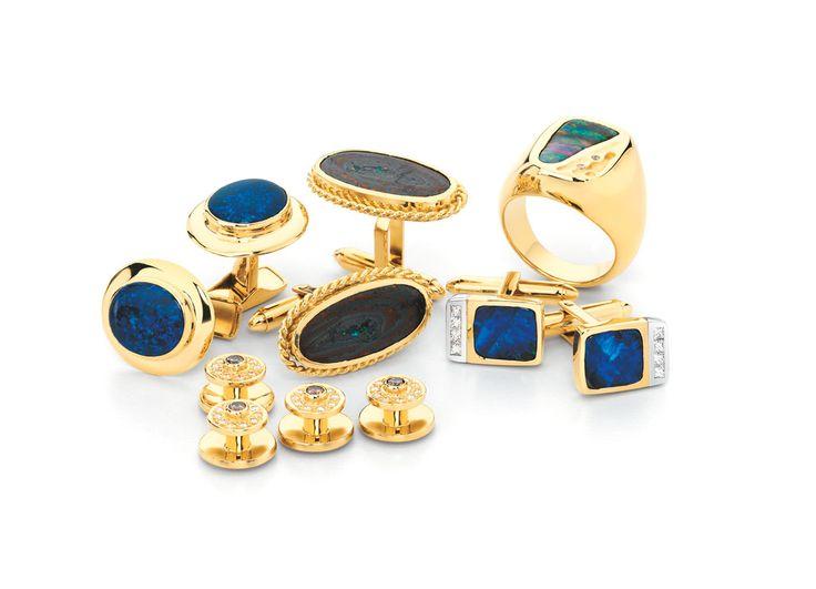 Opal cufflinks and champagne diamond gold dress studs