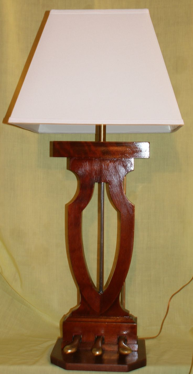 "Baby grand piano Pedal box and lyre repurposed into beautiful table lamp by ""Piche' Design"".  Contact- pichecustom@aol.com for purchase info."
