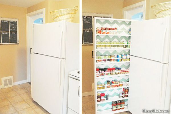 I love this - perfect for our kitchen. Space-saving can storage next to refrigerator