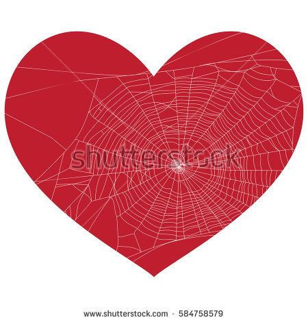 Lonely heart spider web vector illustration