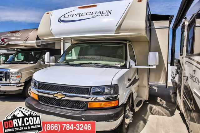 "2016 New Coachmen LEPRECHAUN 220QBC Class C in California CA.Recreational Vehicle, rv, 2016 COACHMEN LEPRECHAUN 220QBC, SPECIFICATIONS Wheelbase: 169"" GVWR: 14,200 lb GCWR: 20,000 lb GAWR Rear: 9,600 lb GAWR Front: 4,600 lb Fuel Capacity: 57 gal Exterior Length: 25'4"" Exterior Height: 11'1"" Exterior Width: 102"" Fresh Water: 50 gal Gray Water: 28 gal Black Water: 22 gal Awning Size: 16' FEATURES Automotive/Exterior/Construction 55 Gallon Fuel Tank (Ford); 57 Gallon Fuel Tank (Chevy) Driver…"