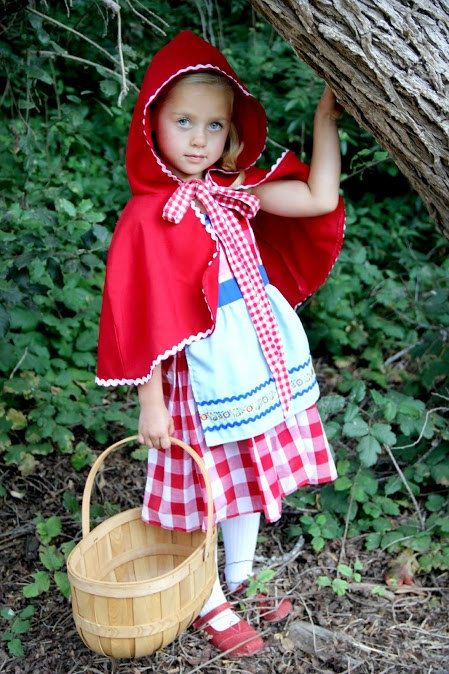 Little Red Riding hood DRESS Storybook red gingham retro apron dress costume for girls and toddlers