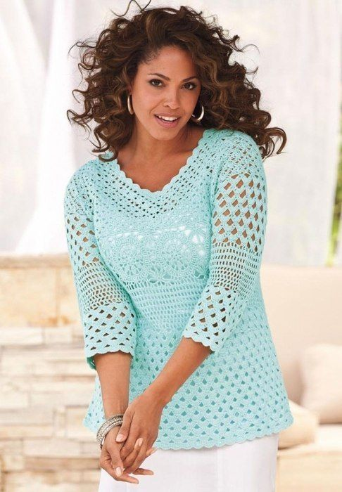 Elegant Tunic free crochet graph pattern with variations shown by paula melendez
