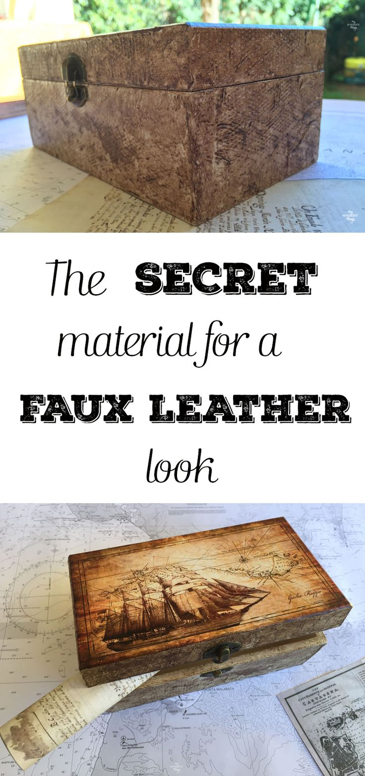 The secret material for a faux leather look, using some glue and dark wax too ·…