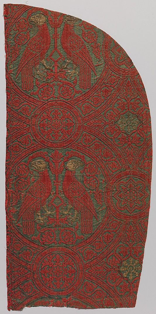 13th c. Sicilian silk with gilt thread brocade of paired parrots in roundels - Met museum