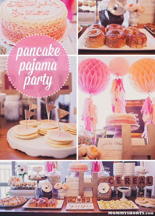 "Harlow's first birthday pancake and pajama party- check out all the awesome decor and food (including CRONUTS!) designed by Little Miss Party; plus there's a giveaway of a customized ""Party in a Box"", theme is whatever you can dream up!"