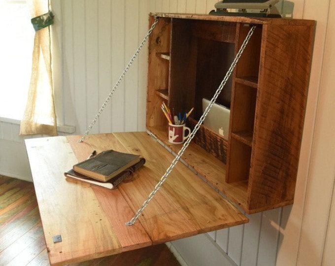 Doblar hacia abajo escritorio - escritorio plegable para apartamentos, estudiantes universitarios o dormitorio de reclamado muebles madera de madera, granero granero