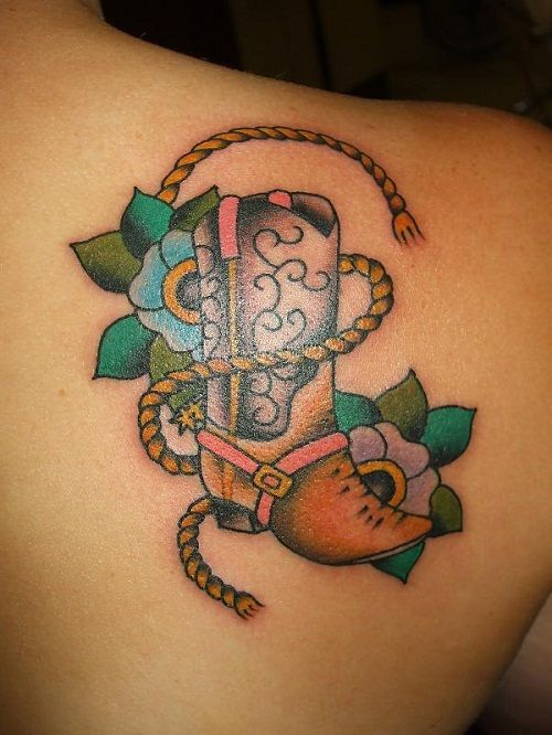 Cowgirl boot tattoos designs