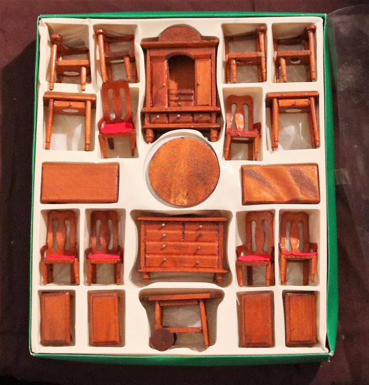 Vintage 22pc Wooden Doll House Furniture Set by HoardersBizarre on Etsy