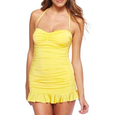 Allen B.® Cinch-Front Bandeau Swimdress - jcpenney I've been looking for a good yellow one piece.