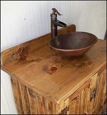 Photo Of Side View   Rustic Log Bathroom Vanity: Southwestern Rustic  Bathroom Vanity W/Copper Vessel Sink And Bronze Faucet
