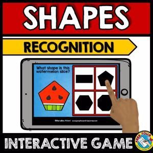 2D SHAPES RECOGNITION GAME (WATERMELON SHAPES GAME) SUMMER KINDERGARTEN MATH  This fun Math game (focusing on 2D SHAPES) will surely engage all students. It is perfect to practice identifying and matching 2D shaped objects. Children have to identify the shape of each watermelon slice and click the button with the corresponding shape.