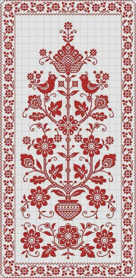 Embroidery Russian Pattern Finished  Work. See B&W Pattern. jwt