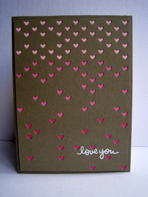 sweet, could be masculine, Valentine ... chocolate base with shades of pink showing through tiny die cut hearts ... die from Simon Says Stamp ... creation of I'm in Haven ... luv the way the pinks get lighter in color as they near the top ...