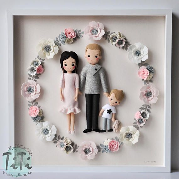 Framed Personalised Family portrait, Picture box frame, anniversary gift, felt dolls with felt flowers, Personalised Gift, Mother's day gift