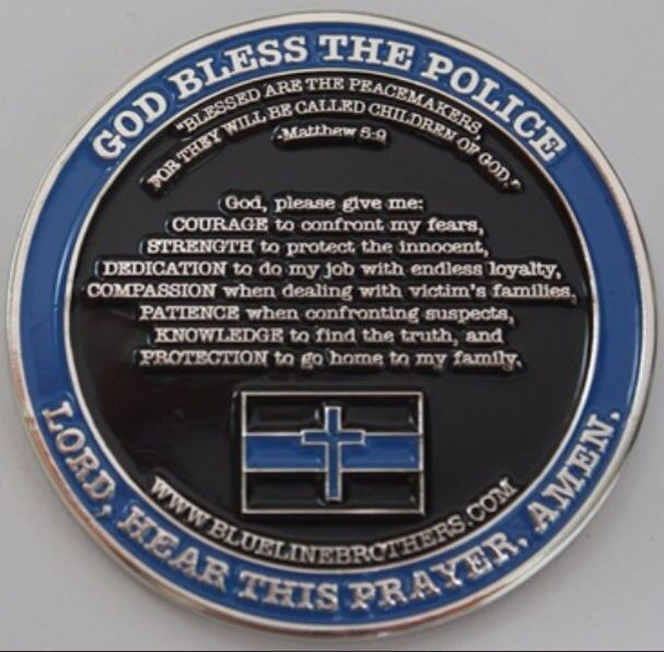 God Bless The Police Prayer Side Of A Challenge Coin Only